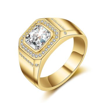 Classic Men Square Crystal Rhinestone Rings Male Gold Color Wedding Bridal Jewelry Lover Friend Friendship Finger Rings