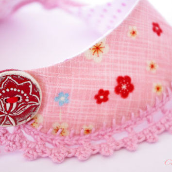 Collar Necklace Pink Japanese Fabric crochet Peter Pan Necklace Ceramic Button