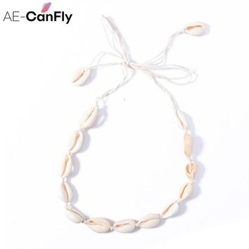 AE-CANFLY Fashion Rope Chain Natural Seashell Choker Necklace Bow Tie Collar Necklace for Women 2L4005