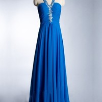 Buy Shiny Beaded Royal Blue A-line Halter Neckline Floor Length Prom Dress under 200-SinoAnt.com