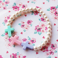 Kawaii Pastel Rainbow Cross Pearl Bracelet