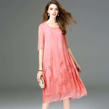 Silk Half Sleeve Chinese Style Loose A-Line Dress Brand Runway Women Dress Office Lady Dress R3319