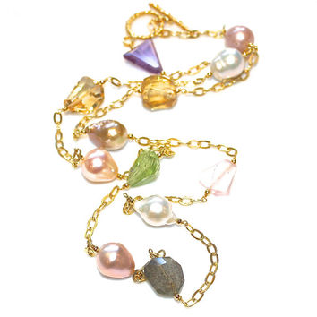Chunky Necklace Rainbow Necklace Gemstone Jewelry Statement Necklace Natural Pearl Necklace Multicolor Jewelry Rosary Style Necklace