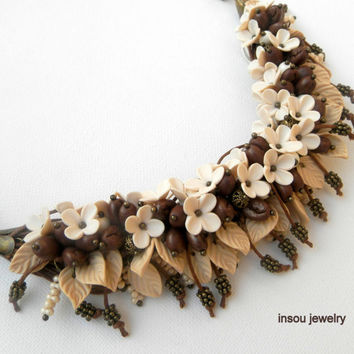Brown jewelry - Coffee necklace - Multi strand necklace - Statement necklace - Charm necklace - Flower necklace