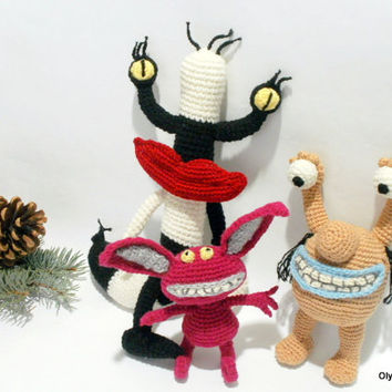 Play set toys Monsters Christmas presents gifts for children Toy Crochet dolls New Year Christmas gifts black white stripes wine beige