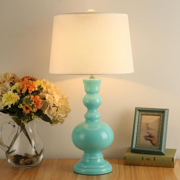Blue Glass Fabric E27 Dimmer Table Lamp With Fabric Shade