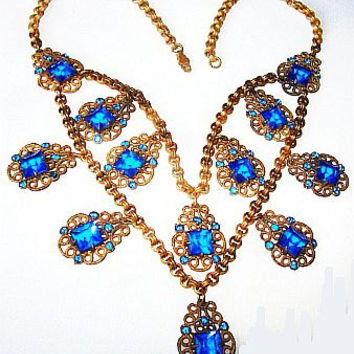 Edwardian Deco Necklace Blue Heliptrope Rhinestones Gold Filigree Links Garland Chain 17 in Vintage