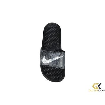Women's Nike Benassi JDI Slide Sandal + Crystals - Pewter/Black/Multi