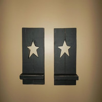 Primitive Star Shutter Shelf Set, Rustic Country Home Decor, Primitive Shelf, Home Decor