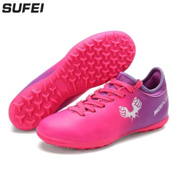sufei Soccer Shoes TF Football Boots Kids Futsal Indoor Hard Court Children Training Soccer Cleats Sport Trainers