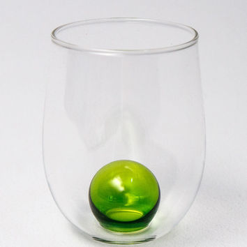 Olive green/handmade wine glasses/hand blown glasses/unique gift/wedding gift/wine lovers/Cup/wine cup/bubble cup/colorful/colorful glasses