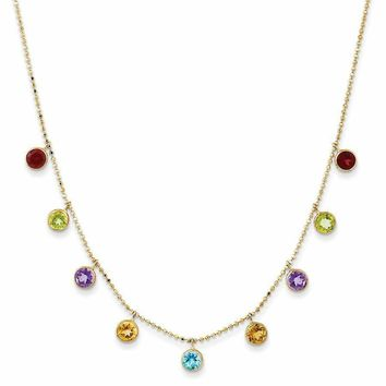 14k Gold Multi-Color Gemstone Necklace - 18 in.