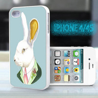unique iphone case,glitter i phone 4 4s case,cool cute iphone4 iphone4s case cover,stylish  plastic rubber cases,  animal  rabbit   bp932