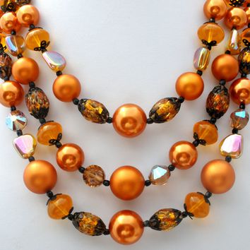 Vendome Triple Strand Bead Necklace Brown Art Glass Crystals