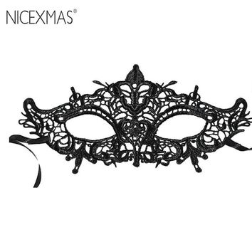 Cool NICEXMAS Exquisite High-End Women Queen Mask Lace Hollow Flower Party Mask Eye Masquerade Mask Halloween Dance Stereotype EyecupAT_93_12