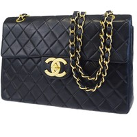 Authentic CHANEL CC XL JUMBO Quilted Chain Shoulder Bag Leather Black 698BC486
