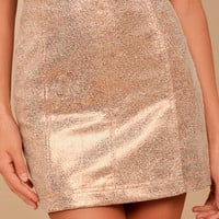 New Modern Femme Metallic Rose Gold Suede Mini Skirt