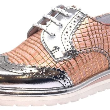 Hoo Shoes Girl s Chloe s Wing Tip Rose Gold Metallic Checkered P 1f9865fad