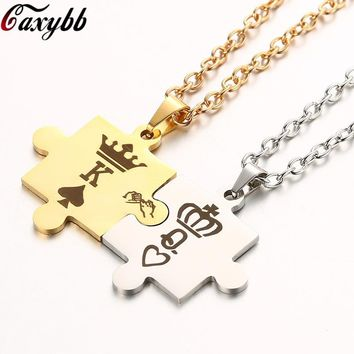Dropshipping Letters K & Q Couple Necklaces with Crown Stainless Steel Tag Pendant Necklace King & Queen  For Women Men