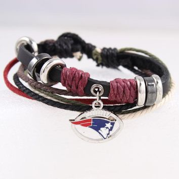 6pcs/lot!New England Patriot Genuine Leather Adjustable Bracelet Wristband Cuff Black Leather With Red Cord, Beads Charm Jewelry