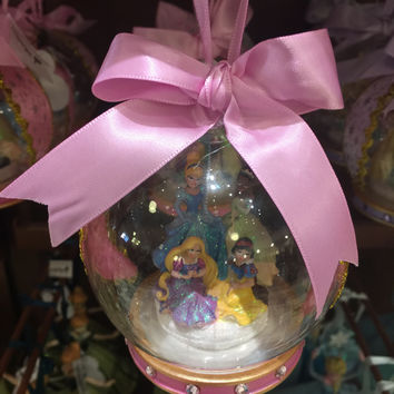 disney parks christmas ornament glass ball 4 princess pink rapunzel new with tag