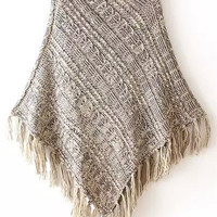 Grey Funnel Collar Fringed Knit Cape Sweater