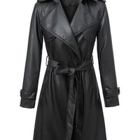 Black Faux Leather Lapel Long Sleeve Belted Trench Coat