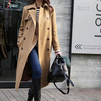Long type of Double-breasted Winter Coat/Woman coat/ Woman Jacket/Tunic/ Long Jacket/ Long Sleeves/Woman Tunic in camel