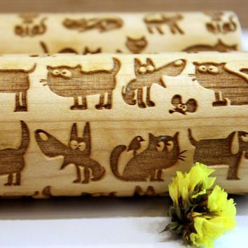 Funny CAT & DOG Embossing Engraved  Rolling Pin, Pattern Roller, Embossed Dough Roller, Dough Roller, Laser Engraved