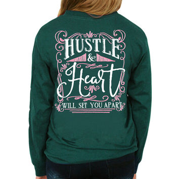 Hustle and Heart Long Sleeve Tee - Forest Green