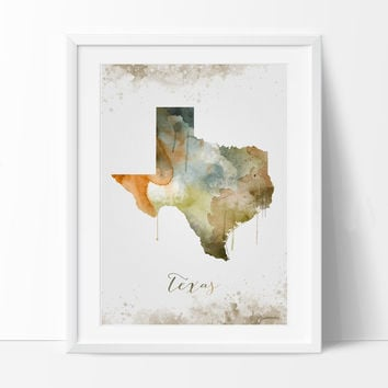 Texas Wall Art, Art Print Texas Decor, Texas Map Art, Watercolor State,