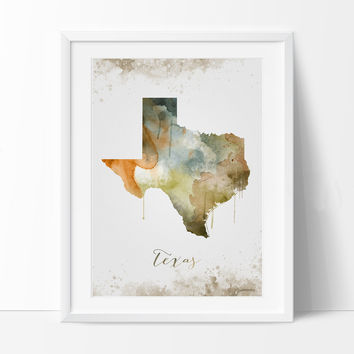 Texas Wall Art, Art Print Texas Decor, Texas Map Art, Watercolor State, Watercolor Texas Print ArtWork (287)