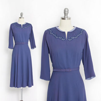 Vintage 50s Dress -Rayon Indigo Blue Beaded Embroidered Day 1940s - Large