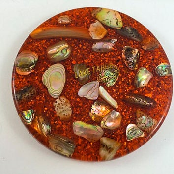 Vintage Lucite With Shells Trivet Lake Tahoe Souvenir Trivet Retro Orange Glitter Acrylic Resin Abalone Shells Trivet Hot Plate Souvenir