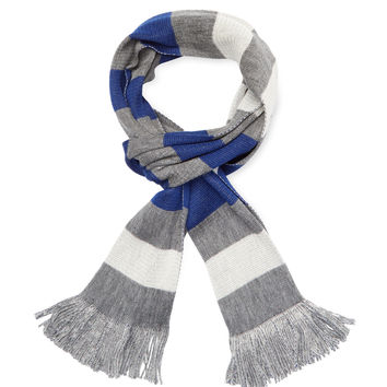 "Hans Kristoff Men's Horizontal Stripe Scarf, 71"" x 10.25"" - Blue"