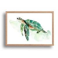 Sea turtle watercolor print, sea turtle painting, sea life watercolor, nursery decor, sea turtle art print, nautical, coastal, thejoyofcolor
