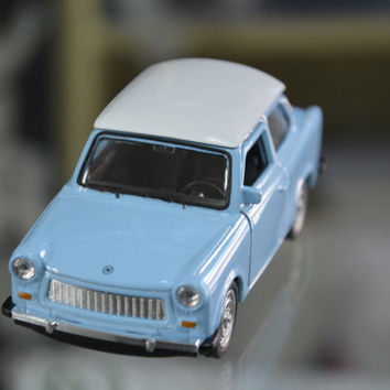 Trabant 601, Vintage Metal Toy, East German Trabant Blue Car Toy 601 Toys Welly, Toy Collectibles, Blue Metallic Trabant, Gift Idea