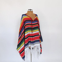 Striped Mexican Blanket Poncho Southwestern Knit Shawl Vintage Poncho Cape Fringe Cape Boho Hipster SoCal Mariachui Man Costume