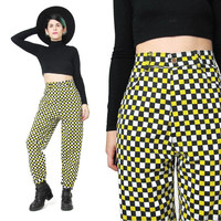 1990s TAXI CAB High Waisted Pants Vintage Hip Hop Novelty Print Pants Graphic Slim Skinny Pants Club Kid Black Yellow Checkered Trousers (M)