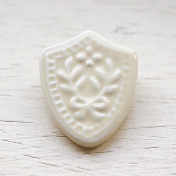 Ceramic porcelain jewellery,Small shield porcelain brooch,ceramic brooch,unusual gift,unique birthday gif, graduation gift,Christmas gift