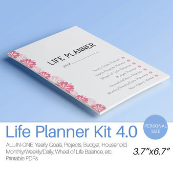 "Filofax Personal Inserts LIFE PLANNER Printable (5.83"" x 8.27"") Daily Weekly Monthly Project Budget Menu Instant Download 80 Printable Pages"