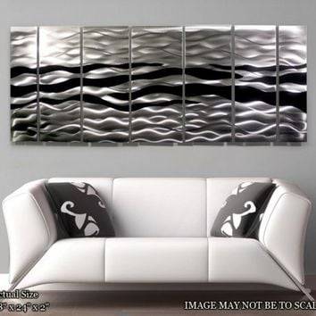 Metal Abstract Wall Painting / Black Silver Wild by statements2000