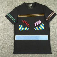 FENDI print cotton black short sleeve top T-shirt