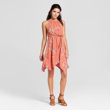 Women's Floral Sharkbite Hem Dress - Almost Famous (Juniors') Pink