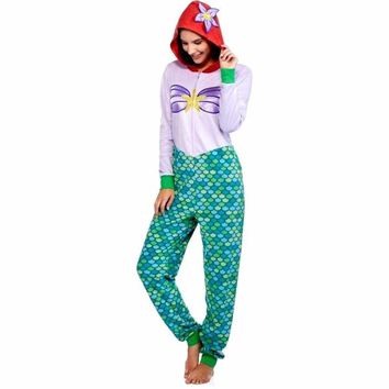 Ariel Little Mermaid costume One Piece Union Suit Onesuit Pajamas XS 2XL Womens girls seashell fish scale pyjamas