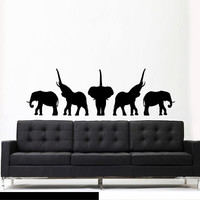 Wall Decal Mural Sticker Beautyfull Cute Detailed Elephant Animals Africa Safari Dorm Bedroom (z3028)