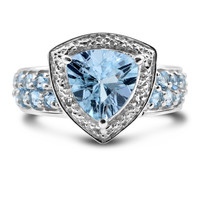 Genuine 2.66 Carat Blue Topaz Sterling Silver Ring with Aquamarine & White Topaz Accents
