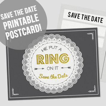 Printable Save the Date Postcard | DIY Save the Date | He Put a Ring on It Save the Date | Wedding Printable | PDF Download