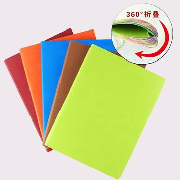 RuiZe 2017 New Korean stationery cute notebook B5 big creative leather notebook diary soft cover colorful edge paper note book