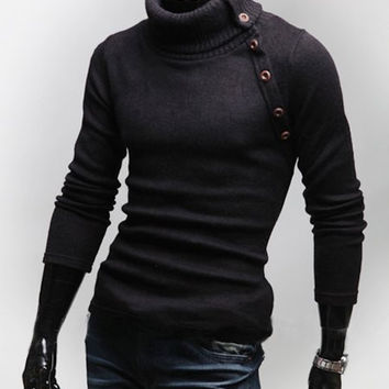 Black Turtleneck Multi-button Long Sleeves Wool Sweater